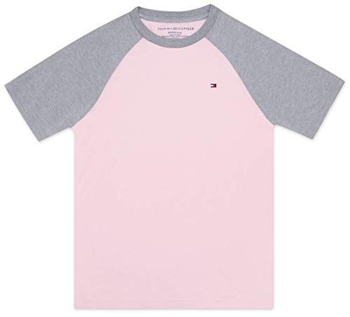 Tommy Hilfiger Toddler Boy's Raglan short sleeve tee shirt Shirt, crystal rose, 3T