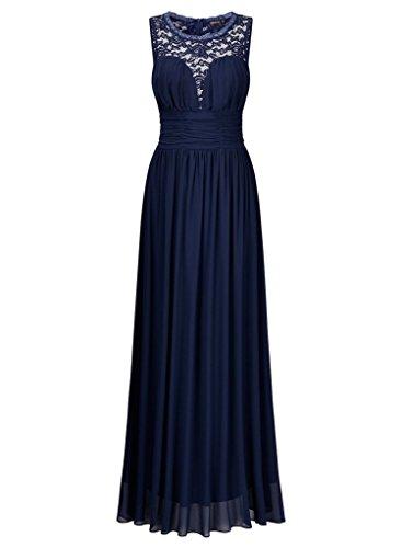 Abendkleider Elegant Navy Blau La Spitze Tanzenkleider Chiffon Partykleider Hundkragen Hochzeitsgaester mia Neuheit Braut FTEwRY