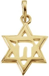 18K Yellow-Star of David Chai Pendant