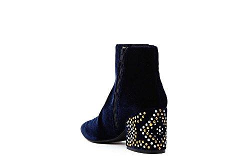 CAFèNOIR CAF Noir LE925 Blue Ankle Boots Woman Tronchetto Velvet Zip Heel Studs Blu TtWWuq