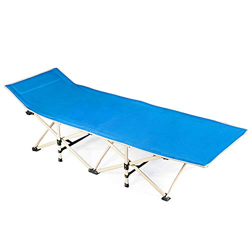 72' Folding Cot - Anya Nana Relax seat Foldable Camping Bed Portable Cot Bed w/Carrying Bag for Patio Beach Outdoor Travel Blue AN1902