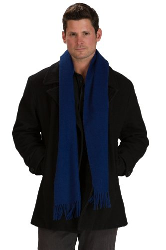 - Fishers Finery Men's 100% Pure Cashmere Scarf; Luxury Christmas Gift (Navy)