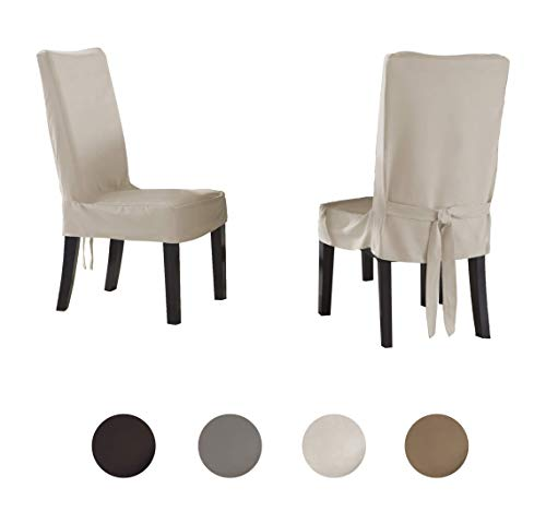 - Serta | Relaxed Fit Smooth Suede Furniture Slipcover for Dining Room Chair, Short Skirt (Ivory)