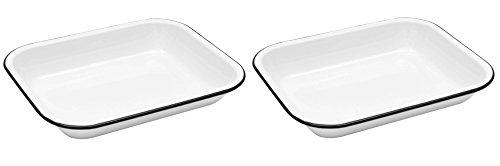 Enamelware Open Roaster, 10.5 x 8 inches, Vintage White/Black (2)