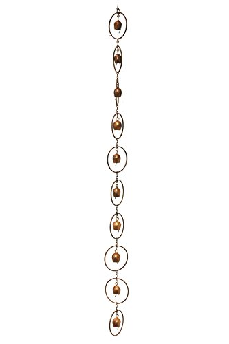 Ancient Graffiti Flamed Copper Bell Rain Chain, 4