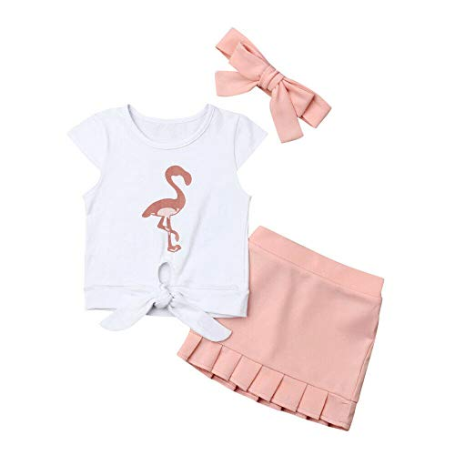 Toddler Baby Girl Flamingo Knotted T Shirt Tops+Pleated Skirt Outfit Summer Clothes Set (Pink/3Pcs Outfits, 2-3T)