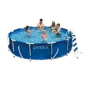 "Intex 12′ x 36"" Metal Frame Pool with Filter Pump, Ladder & Cover"