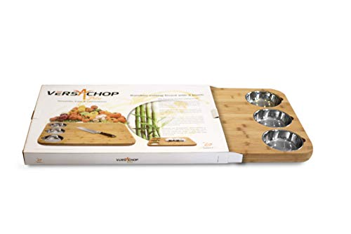 VERSACHOP Trio, Extra Large 22'' X 16'' Kitchen Cutting Board and Butcher Block made from Totally Natural Organic Moso Bamboo with Three Stainless Steel Bowls by VersaChop (Image #8)