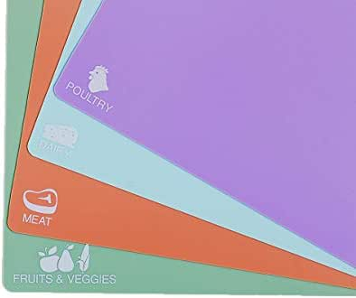 Extra Thick Cutting Mats, Best Kitchen Cutting Mat Set Flexible Plastic, Non-Slip, Colorful, Cutting Board Sheets and Chopping Boards, Easy to Clean, Set of 4 Cute Colored Mats with Food Icons