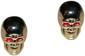 2er Set Ventilkappen - Skull v2 - in silber für Motorrad