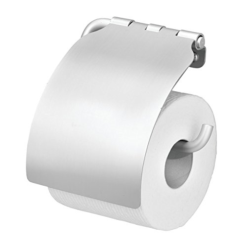 mDesign Wall Mount Toilet Tissue Paper Roll Holder and Dispenser with Cover for Bathroom Storage - Holds/Dispenses One Roll, Mounting Hardware Included - Durable Aluminum, Silver Finish - Toilet Paper Roll Cover