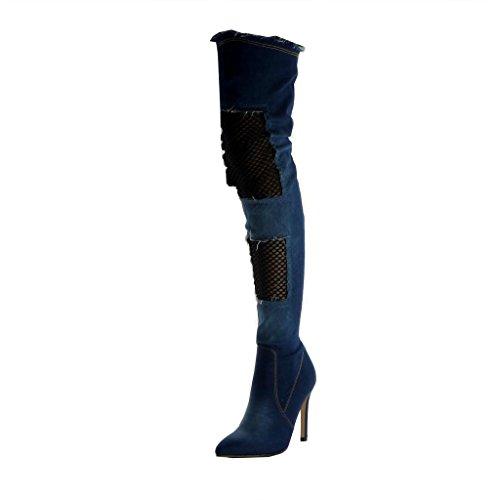 Angkorly Botte Talon Foncé 11 Femme Cm Souple Aiguille Effiloché Bleu Résille Haut Cavalier Chaussure Cuissarde Stiletto Mode 4qx4fr