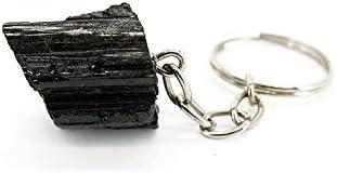Llavero de Turmalina Negra Minerales y Cristales para curación, Belleza energética, Meditacion, Medicina Alternativa, Amuletos Espirituales