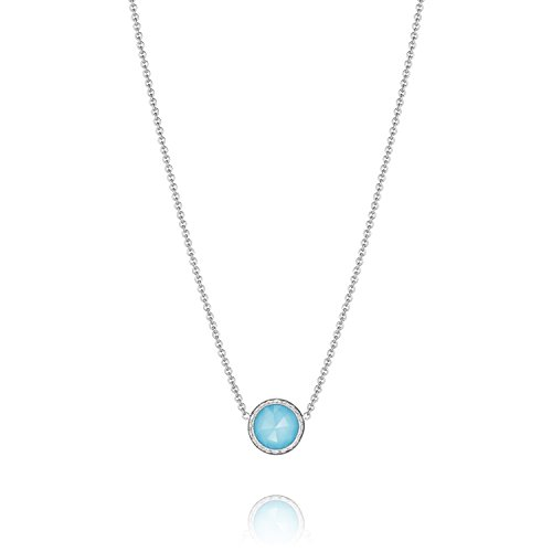 Tacori Bezel Necklace (Tacori SN15305 Island Rains Sterling Silver Clear Quartz over Synthetic Turquoise Bezel Necklace, 18