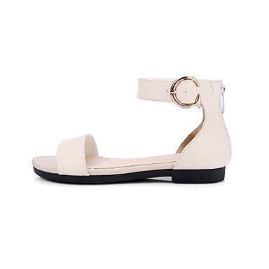 LvYuan Mujer-Tacón Plano-Confort Gladiador Suelas con luz-Sandalias-Exterior Vestido Informal-Semicuero-Negro Rosa Blanco White