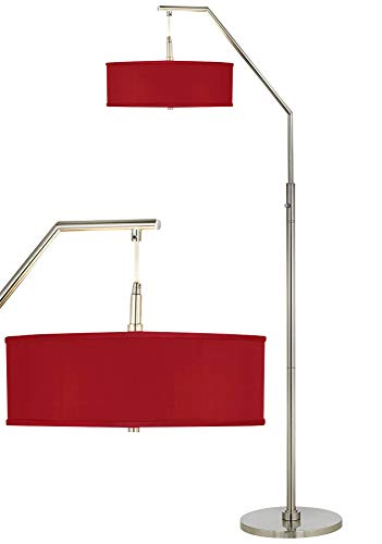 Modern Arc Floor Lamp Brushed Nickel China Red Textured Faux Silk Drum Shade for Living Room Reading Bedroom - Possini Euro Design ()