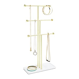 Umbra Trigem Hanging Jewelry Organizer – 3 Tier Extra Tall Tabletop Necklace Holder and Jewelry Display Stand Tree with Ring Tray to Organize Necklaces, Bracelets, Earrings, Rings and Watches, Brass