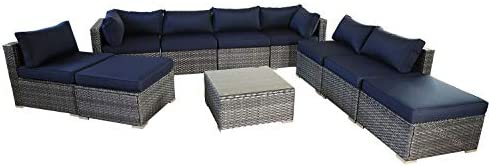 Outdoor Rattan Sofa Patio Furniture Garden Couch Sectional Set Conversation Sofa Sets Outside Sofa Navy Blue Cushions 10 Pcs