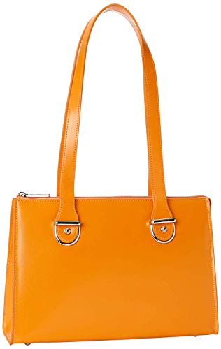 Jack Georges Jack Georges [Personalized Initials Embossing] Milano Collection Top Zip Shoulder Leather Handbag in Orange