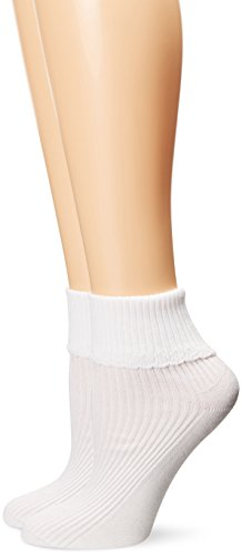 PEDS Women's Diabetic Loose Fitting Top Ribbed Sock with Lace Cuff 2 Pairs, White, (Ribbed Diabetic Socks)