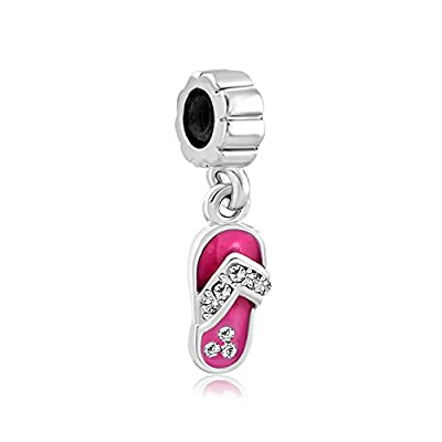 Q&Charms Dangle Rose Pink Beach Flip Flop Charm Sale Cheap Bead Fit Pandora Chamilia Charms Bracelet