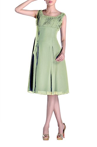 Bridesmaid Formal Brides Mother Special Dress the Graugrün Knee Occasion of Length Pleated rqwrTap