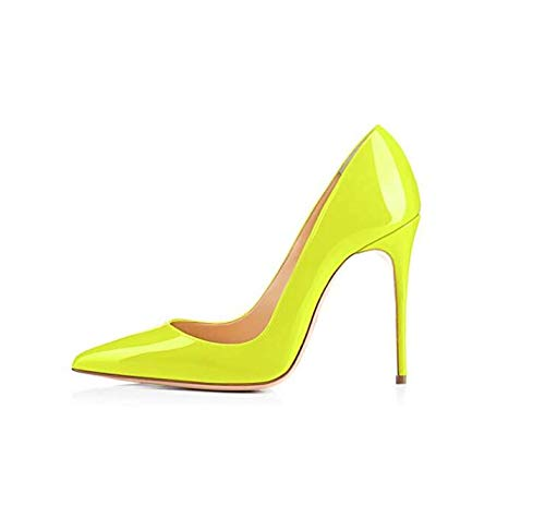 (GENSHUO High Heel, 10cm/3.94 Inch Stiletto High Heel Shoes for Women Pointed Toe Party Evening Dress Pumps Prom 10 cm FY 5 Fluorescent Yellow)