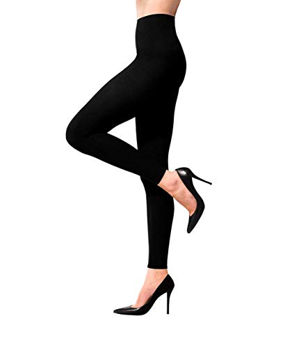 Terramed Advanced Graduated Compression Leggings Women - 20-30 mmHg Footless Microfiber Leggings Tights (Black, Large) ()