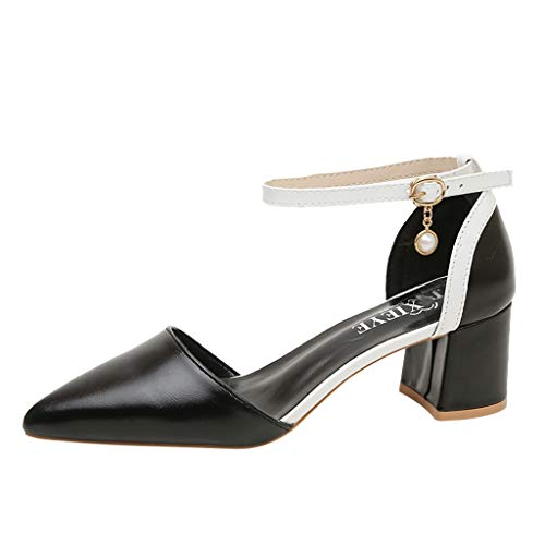 Women's Thick Buckle with Pointed Single Shoes Fashion high Heels Custom Dress Party Sandals Black