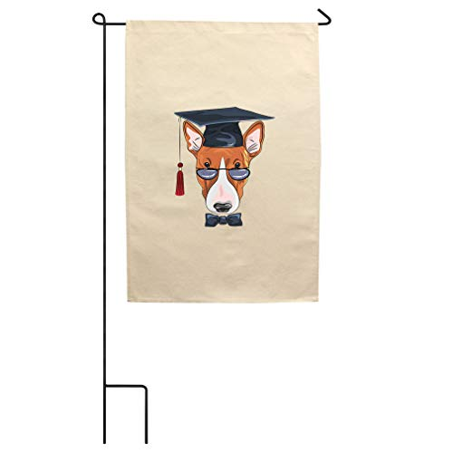 Dog Graduating in Glasses Cotton Canvas Yard House Garden Flag Flag Flag & Pole 18