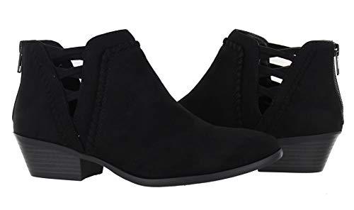 Urban Heel Women's Ankle Heel Faux Suede Bootie with Elastic Cross Straps (10, Black) ()