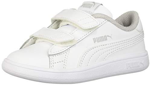 PUMA Unisex-Baby Smash V2 Velcro Sneaker, white-white, 5 M US Toddler