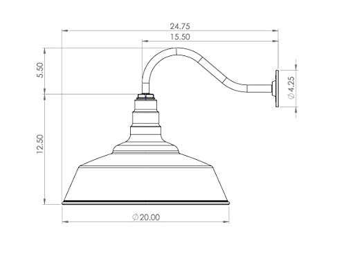 "Steel Lighting Co. The Redondo Gooseneck Barn Light, Matte Black, 20"" Dome - Farmhouse Light Fixture"