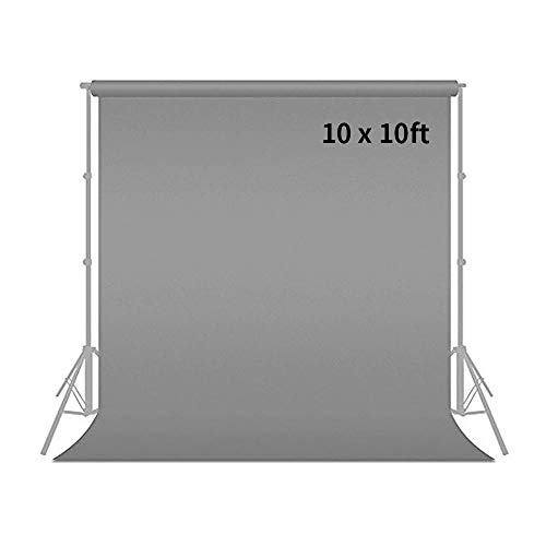 MOUNTDOG 10ft x 10ft Professional Grey Photo Studio Muslin Backdrop Photography Cotton Chromakey Background Screen for Photo Video Photography (Stand NOT Included)