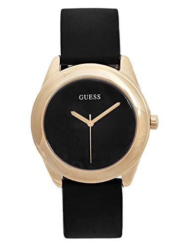 GUESS Factory Women's Black and Gold-Tone Silicone Logo Watch, NS
