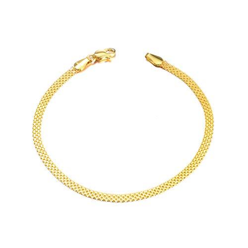 SISGEM 18k Yellow Gold Chain Bracelet, Fine Italian Jewelry for Women (Wide: 2.8 mm)