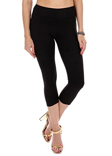 Premium Soft High Waist Yoga Leggings-Full Length & Cropped Capri -One Size fits 3 Sizes-Made in The USA (Black-Capri, Plus size/12-24 (1x,2X,3X))