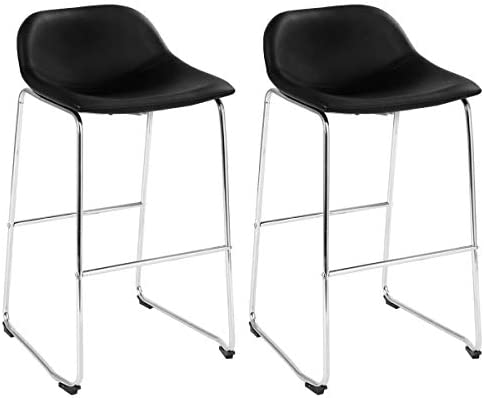 COSTWAY Set of 2 Bar Stools Modern Contemporary PU Leather Bar Height Armless Padded Seat Pub Bistro Kitchen Dining Side Chair Barstools with Metal Legs Black Silver
