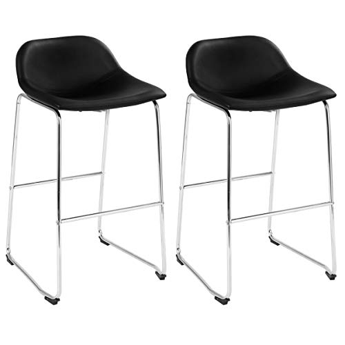 (COSTWAY Set of 2 Bar Stools Modern Contemporary PU Leather Bar Height Armless Padded Seat Pub Bistro Kitchen Dining Side Chair Barstools with Metal Legs (Black+Silver))