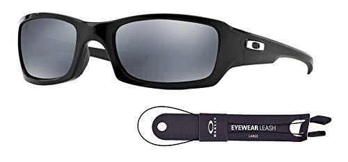 Oakley Fives Squared OO9238 923806 54M Polished Black/Black Iridium Polarized Sunglasses For Men+BUNDLE with Oakley Accessory Leash Kit