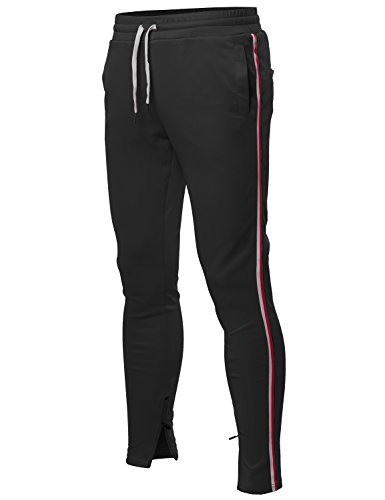 (Style by William Side Stripe Ankle Zipper Track Pants Black L)