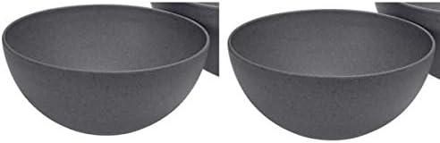 Magu 2er Set Sch/üsseln Schalen Schiefer grau schwarz /Ø 26cm Bambus Natur Design