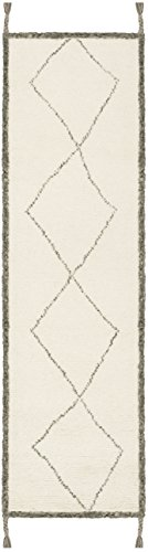 """Safavieh CSB911A-28 Casablanca Collection Abstract Area Runner, 2'3"""" x 8', Ivory/Charcoal - The handmade and hand-woven Construction add durability to this rug, ensuring it will be a favorite for a long time Each rug is handmade of rich, soft, high-density, plush New Zealand Wool The modern style of this rug will give your room a contemporary accent - runner-rugs, entryway-furniture-decor, entryway-laundry-room - 31LRr52touL -"""