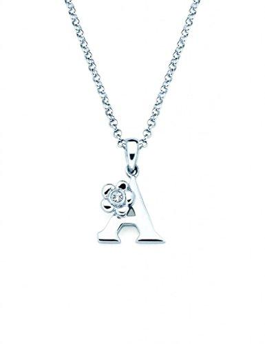 Little Diva Diamonds Sterling Silver Diamond Accent Initial Pendant Necklace- Letter A