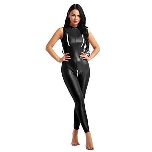Iiniim Womens One Piece Faux Leather Zipper Crotch Mock Neck Leotard Bodysuit Catsuit
