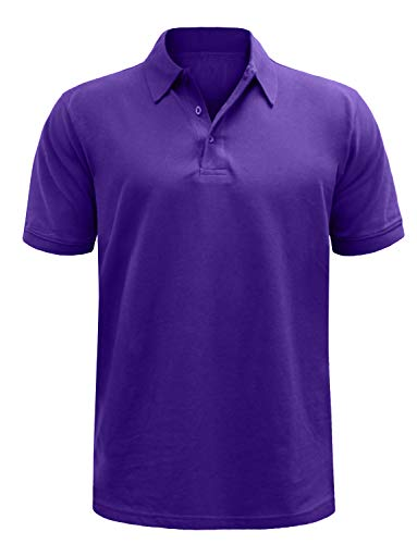 (NE PEOPLE Men's Everyday Basic Plain/Stripe Pique Polo T-Shirts Tops)