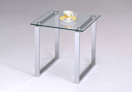 Kings Brand Chrome Finish with Glass Top End Table (Side Glass Tables)