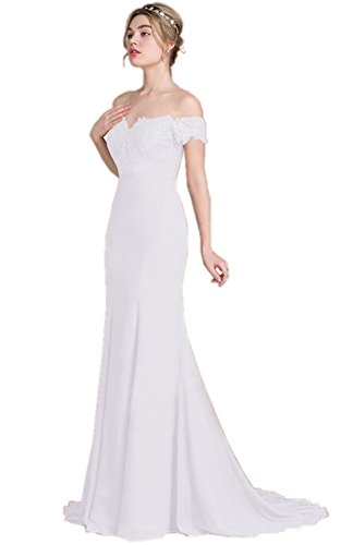 Blanco corta Vestido de De QUEEN Vestidos mujeres maxi hombro largos Boda Manga novia ANNA las 4zqT6