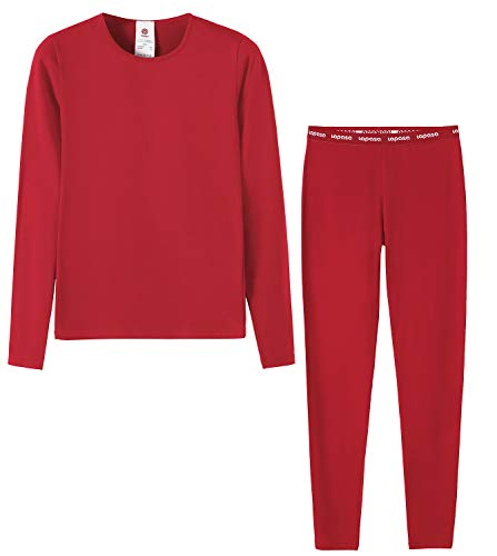 LAPASA Girls Thermal Underwear Long John Set Fleece Lined Base Layer Top and Bottom G03, Red,M(Height 125-135cm)