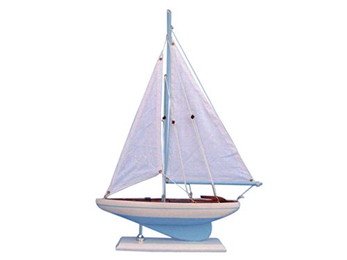 Hampton Nautical  Decorative Wooden Pacific Sailer Model Yacht Light Blue 17